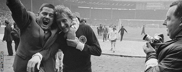 Denis Law is embraced by a Scotland fan at Wembley in 1967