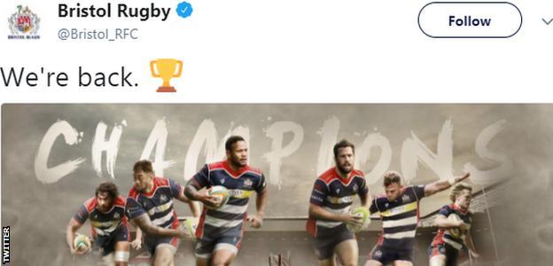 Bristol tweet to celebrate promotion