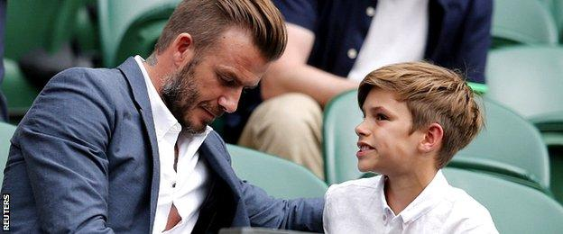 David Beckham and his son Romeo