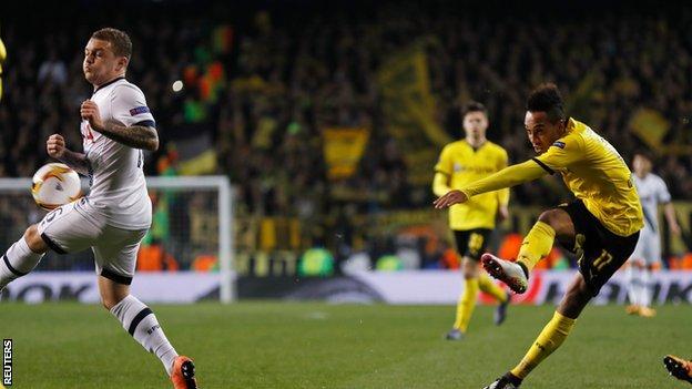 Tottenham v Dortmund: Aubameyang puts the visitors ahead