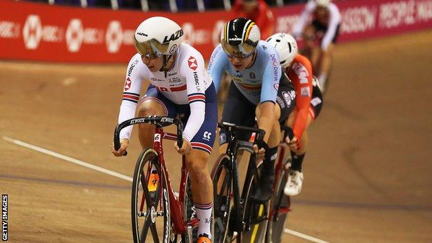 Scotland's Neah Evans in action at the Sir Chris Hoy Velodrome
