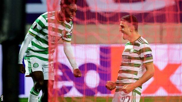 Two goals from Mohamed Elyounoussi (right) had Celtic in command at the break