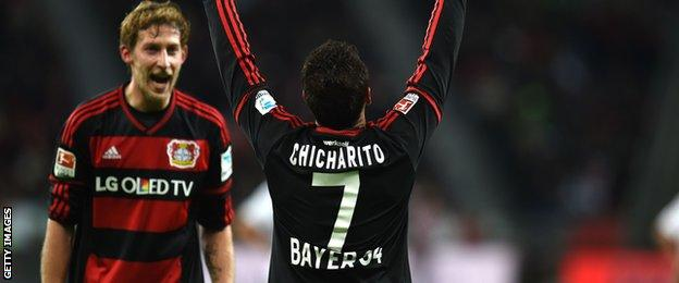 Javier Hernandez celebrates scoring for Bayer Leverkusen against Borussia Monchengladbach