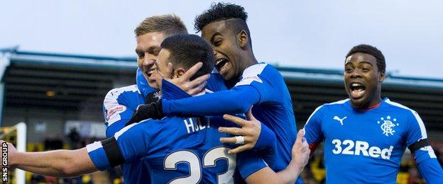 Rangers lead the way in the Championship, on goal difference from Hibernian
