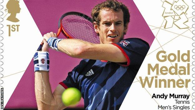 Andy Murray on a stamp after his gold medal victory at the 2012 Olympic Games