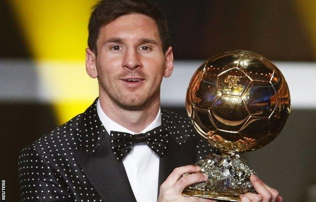 Lionel Messi holds the 2012 Ballon d'Or