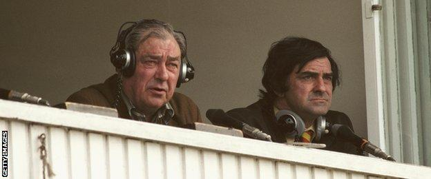 BBC Test Match special commentator John Arlott with summariser Fred Trueman look on from the commentary box during a 1979 Cricket World Cup match at Trent Bridge, Nottingham