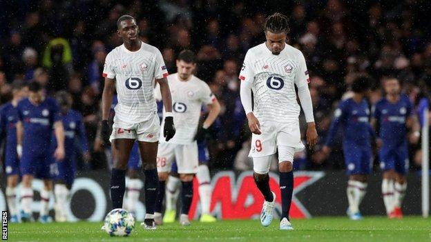 Soumare (left) played in both of Lille's Champions League defeats by Chelsea this season
