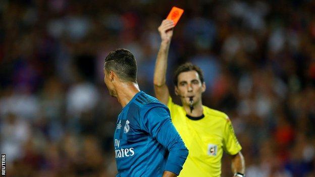 Cristiano Ronaldo shown a red card