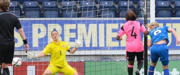 Margret Lara Vioarsdottir scores for Iceland