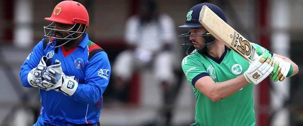 Ireland batsman Andrew Balbirnie plays a shot in the final Super Sixes match in Zimbabwe