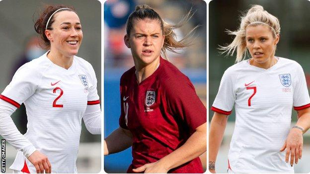 Lucy Bronze, Alessia Russo and Rachel Daly