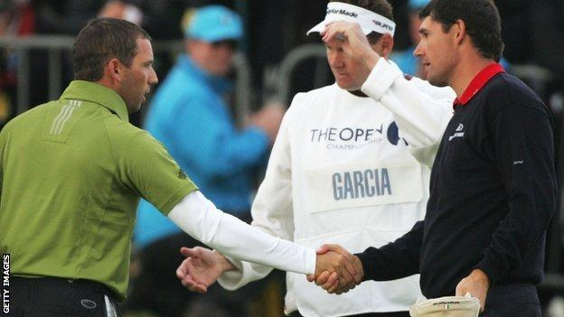 Sergio Garcia shakes hands with Padraig Harrington after the latter wins the Open in a play-off at Carnoustie in 2007