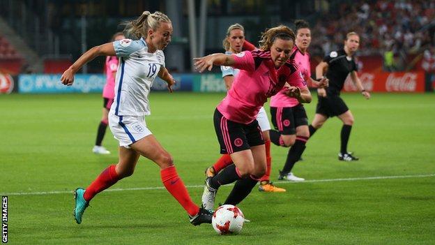 England's Toni Duggan shield the ball from Scotland's Rachel Corsie during a women's Euro 2017 tie