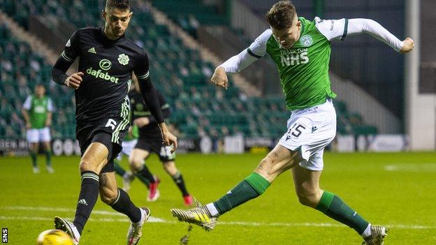 Kevin Nisbet's angled drive doubled Hibs' lead