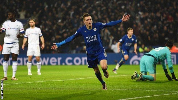 Leicester's Jamie Vardy celebrates scoring against last season's champions