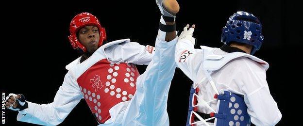 GB Taekwondo competitor Lutalo Muhammad in action