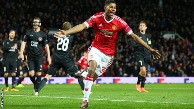 Manchester United debutant Marcus Rashford celebrates scoring in the Europa League