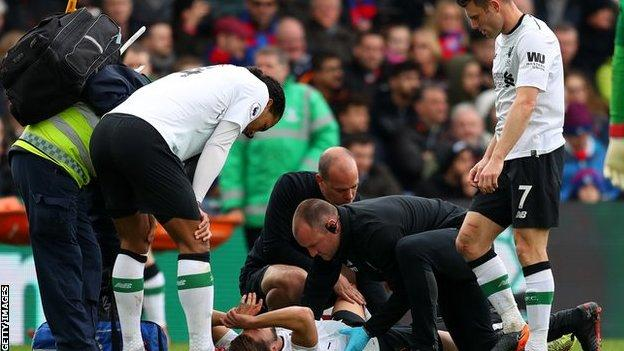 Adam Lallana after being injured against Crystal Palace