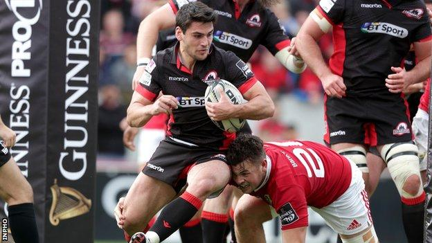 Sam Hidalgo-Clyne is about to be dispossessed in the move which led to Conor Murray's second try