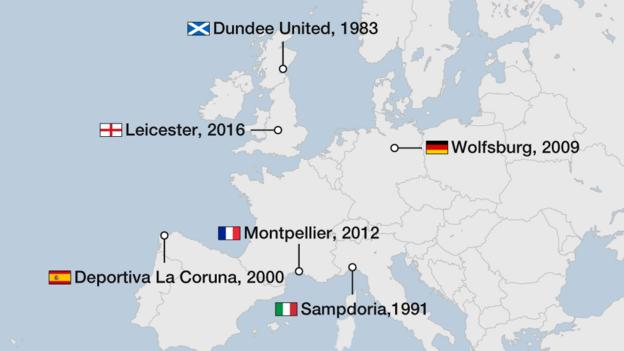 Map showing the most recent first-time winners of titles in Europe's major leagues. France - Montpellier, 2012. Germany - Wolfsburg, 2001. Italy - Sampdoria, 1991. Scotland - Dundee United, 1983. Spain - Deportivo La Coruna, 2000.