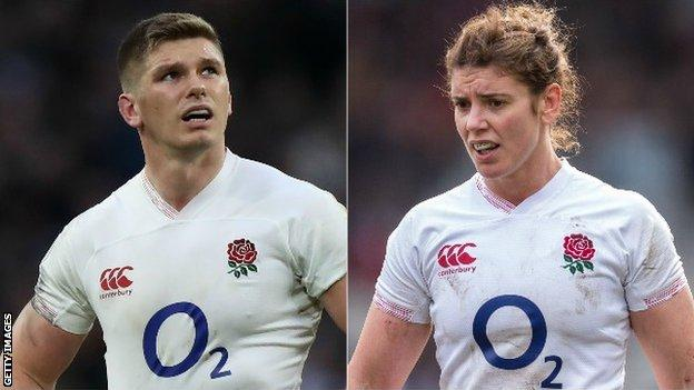 A split image of England men's and women's rugby captains Owen Farrell (left) and Sarah Hunter (right)