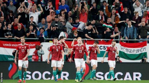 Hungary players celebrate