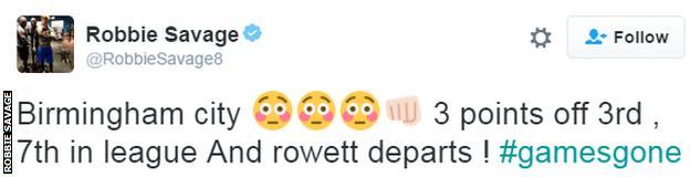 Robbie Savage Tweet on Gary Rowett