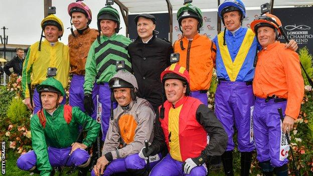 Johnny Murtagh, Joseph O'Brien, Paul Carberry, Charlie Swan, Richard Hughes, Kieren Fallon, AP McCoy and Ted Durcan with Pat Smullen