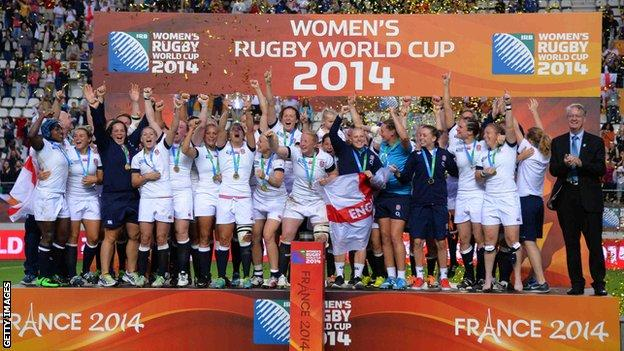 England women celebrate their World Cup win in 2014