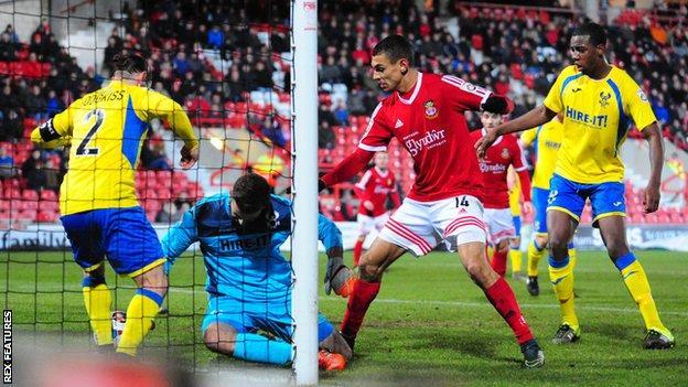 Kayden Jackson scores Wrexham's second against Kidderminster Harriers