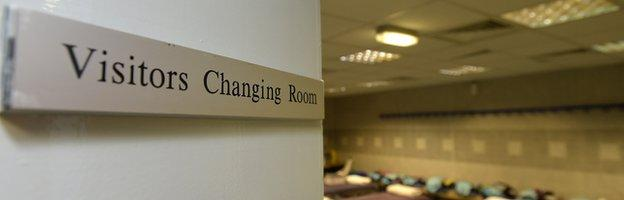 Blackburn Rovers visitor changing room