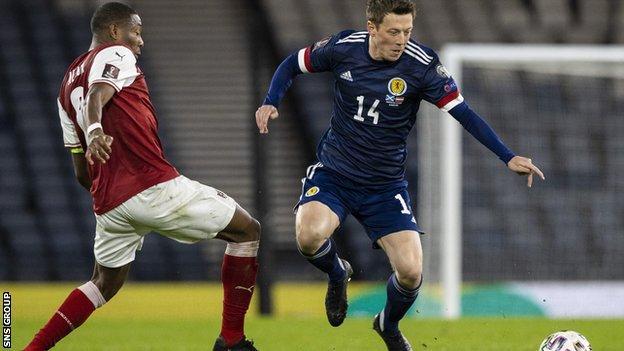 Callum McGregor in action during Scotland's 2-2 draw with Austria at Hampden