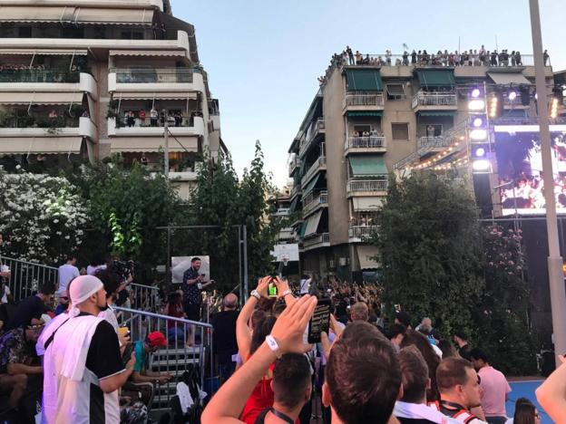 Giannis return to Athens and the basketball court where he played as a youngster attracts a large crowd