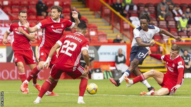 Rangers' Joe Aribo shoots for goal