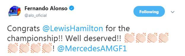 Fernando Alonso tweet