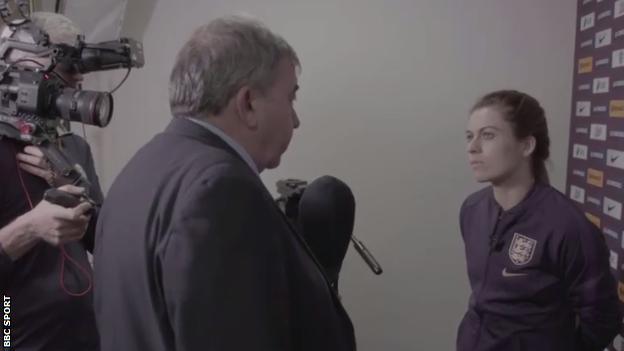 BBC Reporter Jonathan Pearce and England midfielder Karen Carney
