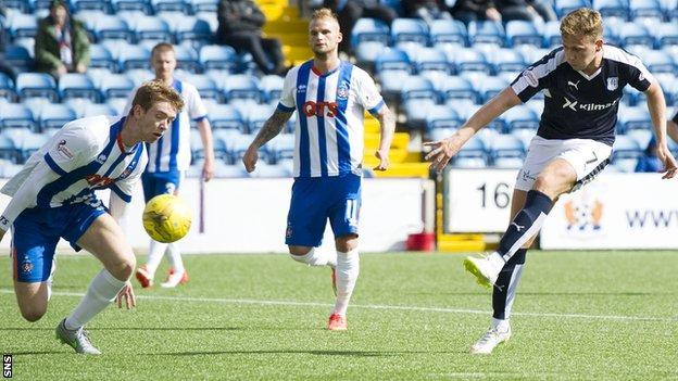 Greg Stewart scores for Dundee against Kilmarnock