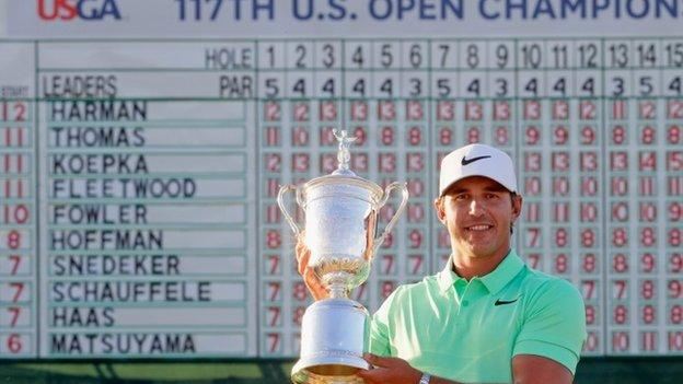 Brooks Koepka with US Open trophy