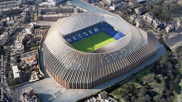 Aerial view of proposed new Stamford Bridge