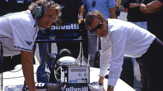 1986 Italian Grand Prix. Monza, Italy. 5-7 September 1986. Brabham team boss Bernie Ecclestone and chief mechanic Charlie Whiting discuss things with driver Riccardo Patrese
