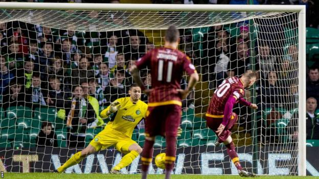 Louis Moult scores a penalty for Motherwell against Celtic