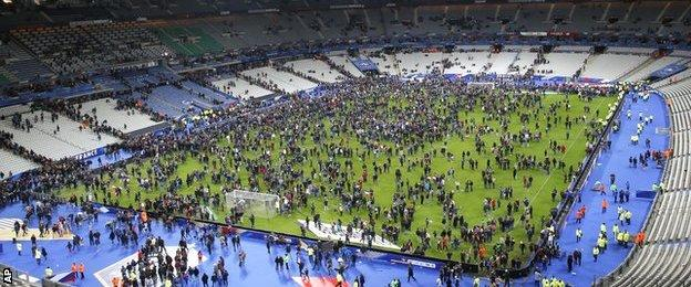 Fans came onto the pitch after full-time