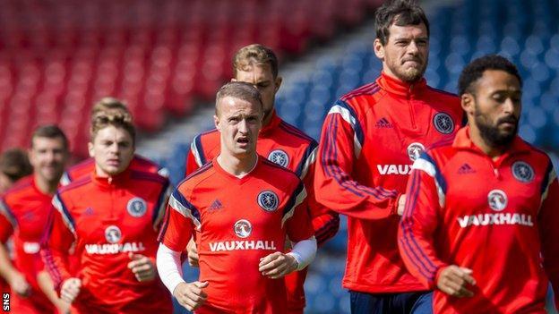 The Scotland players train at Hampden on Sunday