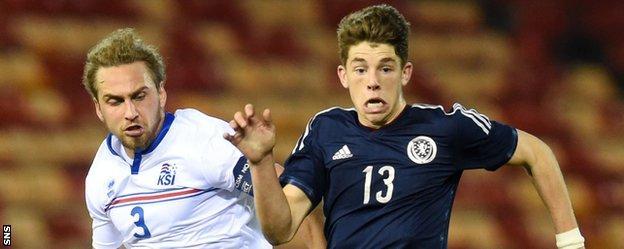 Iceland's Oliver Sigurjonsson and Scotland's Ryan Christie