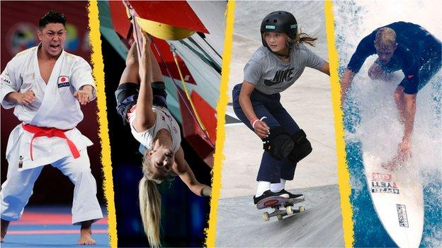 Collage of karateka Damian Quintero, climber Shauna Coxsey, skateboard star Sky Brown, and surfer John John Florence