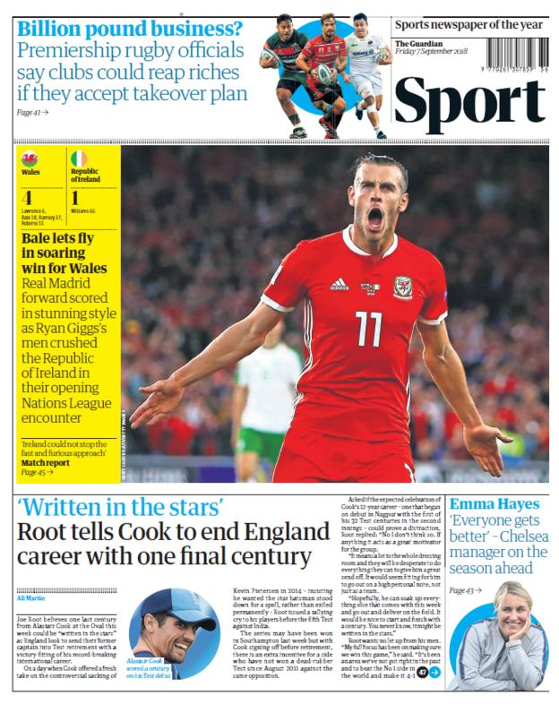 Guardian sport section on Friday