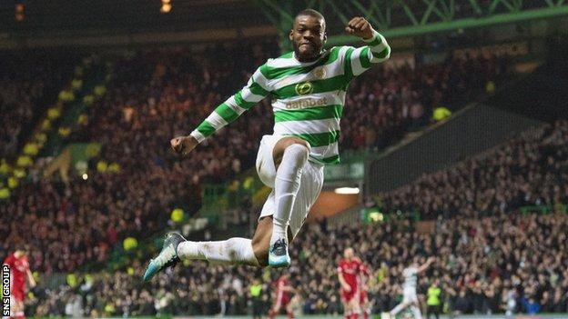 Olivier Ntcham was on target for league leaders Celtic in a 3-0 win over Aberdeen