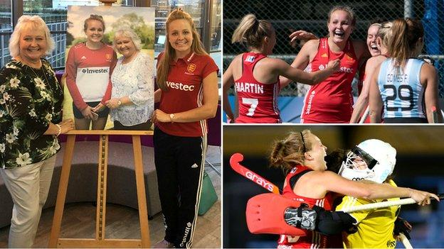 Emily Defroand with her mum Gill (left) and in action for England (right top and bottom)
