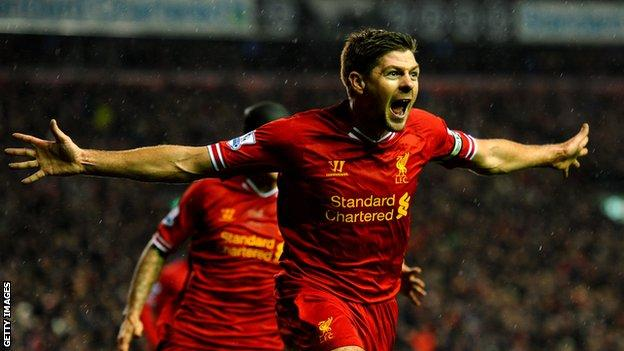 Steven Gerrard celebrating a goal for Liverpool